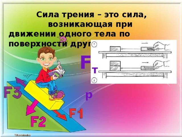 Сила трения – это сила, возникающая при движении одного тела по поверхности другого F тр