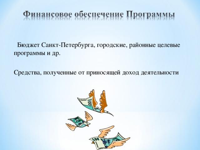 Бюджет Санкт-Петербурга, городские, районные целевые программы и др. Средства, полученные от приносящей доход деятельности