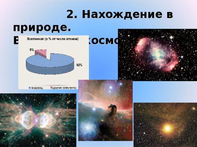 2. Нахождение в природе.  Водород в космосе
