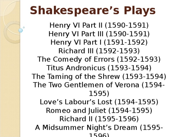 Shakespeare's Plays Henry VI Part II (1590-1591)  Henry VI Part III (1590-1591)  Henry VI Part I (1591-1592)  Richard III (1592-1593)  The Comedy of Errors (1592-1593)  Titus Andronicus (1593-1594)  The Taming of the Shrew (1593-1594)  The Two Gentlemen of Verona (1594-1595)  Love's Labour's Lost (1594-1595)  Romeo and Juliet (1594-1595)  Richard II (1595-1596)  A Midsummer Night's Dream (1595-1596)