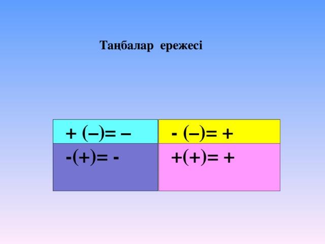 Таңбалар ережесі  + (–)= –  - (–)= +  -(+)= -  +(+)= +