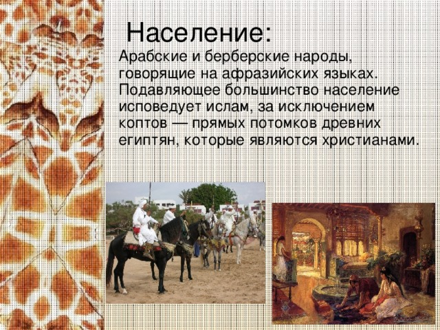 Население: Арабские и берберские народы, говорящие на афразийских языках. Подавляющее большинство население исповедует ислам, за исключением коптов — прямых потомков древних египтян, которые являются христианами.
