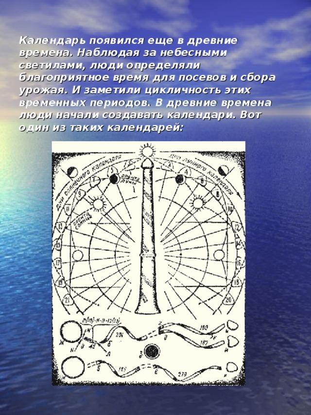 Календарь появился еще в древние времена. Наблюдая за небесными светилами, люди определяли благоприятное время для посевов и сбора урожая. И заметили цикличность этих временных периодов. В древние времена люди начали создавать календари. Вот один из таких календарей:    Календарь древних людей