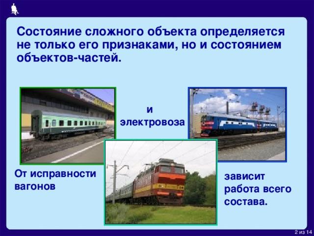 Состояние сложного объекта определяется не только его признаками, но и состоянием объектов-частей.  и  электровоза От исправности вагонов зависит работа всего состава.