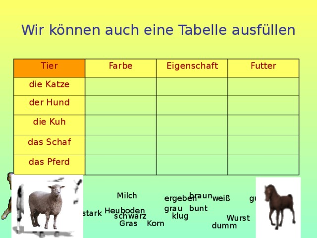 Wir können auch eine Tabelle ausfüllen Tier Farbe die Katze Eigenschaft der Hund Futter die Kuh das Schaf das Pferd Milch braun gut ergeben weiß bunt grau Heuboden stark klug schwarz Wurst Gras Korn dumm