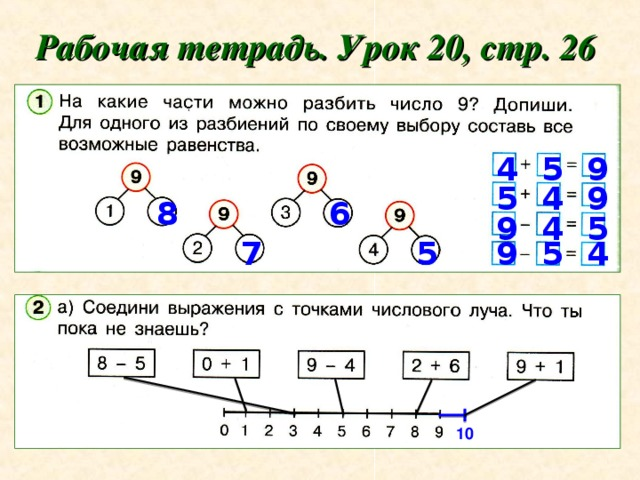 Рабочая тетрадь. Урок 20, стр. 26 9 5 4 5 4 9 6 8 4 9 5 5 7 9 5 4 10