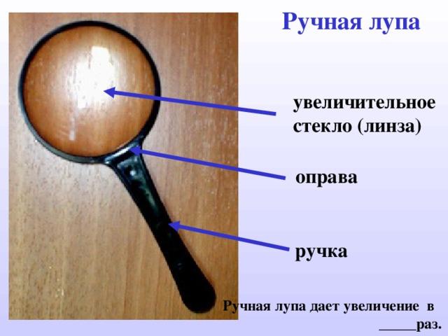 Ручная лупа увеличительное стекло ( линза) оправа ручка Ручная лупа дает увеличение в _____раз.