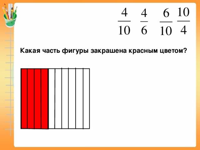 Какая часть фигуры закрашена красным цветом? Математика 5 класс. Н.Я.Виленкин. № 860.
