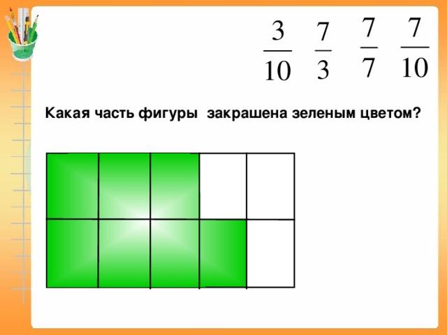 Какая часть фигуры закрашена зеленым цветом? Пригласите к компьютеру ученика