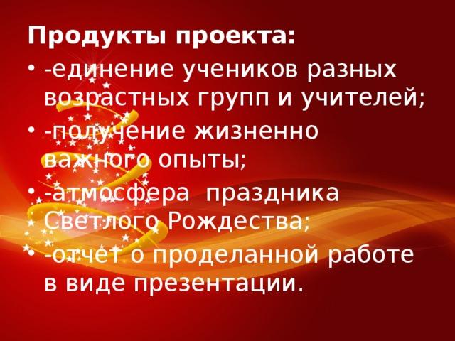 Продукты проекта: