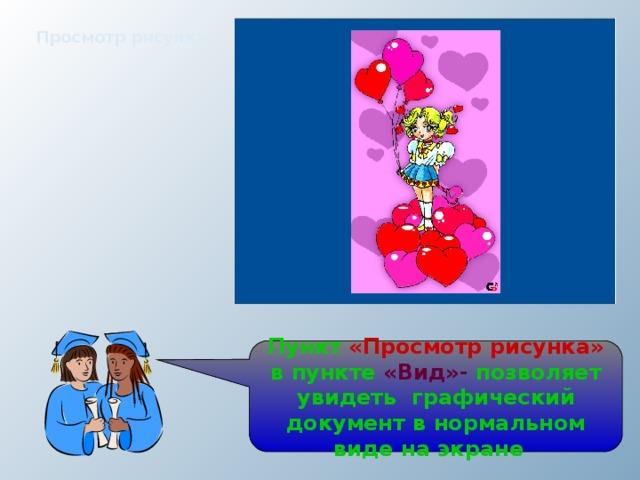 Просмотр рисунка Пункт «Просмотр рисунка» в пункте «Вид»- позволяет увидеть графический документ в нормальном виде на экране