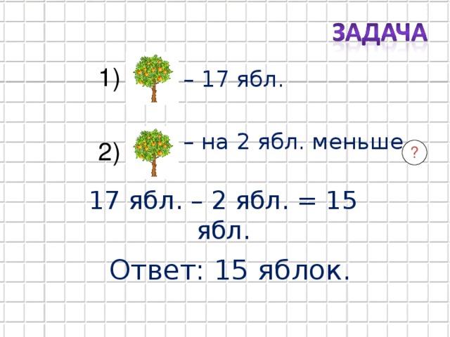 1) – 17 ябл. – на 2 ябл. меньше  2) ? 17 ябл. – 2 ябл. = 15 ябл. Ответ: 15 яблок.