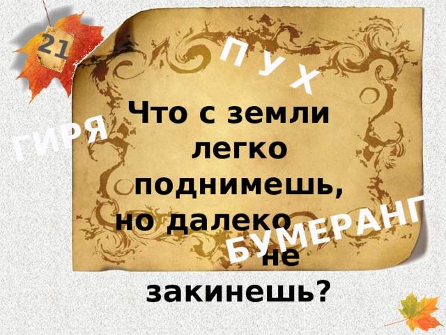 21 П У Х ГИРЯ БУМЕРАНГ Что с земли легко поднимешь, но далеко не закинешь?