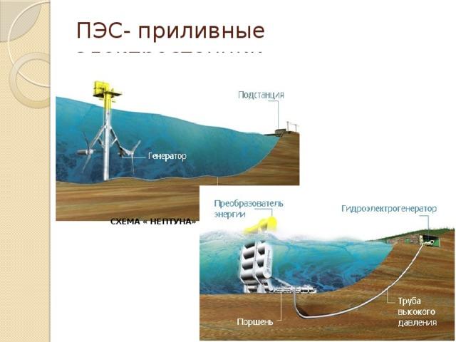 ПЭС- приливные электростанции СХЕМА « НЕПТУНА» СХЕМА «УСТРИЦЫ»