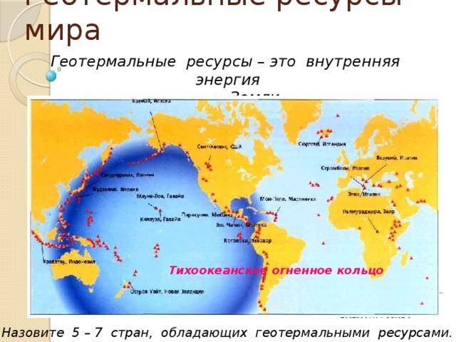 Геотермальные ресурсы мира Геотермальные ресурсы – это внутренняя энергия  Земли. Тихоокеанское огненное кольцо Назовите 5 – 7 стран, обладающих геотермальными ресурсами.