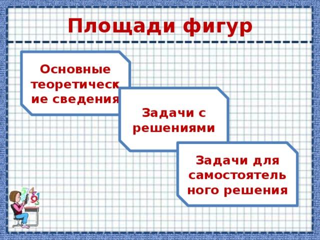 Площади фигур Основные теоретические сведения Задачи с решениями Задачи для самостоятельного решения