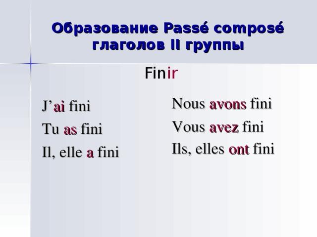Образование Passé composé глаголов II группы Fin ir  Nous avons fini Vous avez fini Ils, elles ont fini  J' ai fini Tu as fini Il, elle a fini