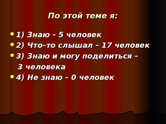 По этой теме я: 1) Знаю – 5 человек 2) Что–то слышал – 17 человек 3) Знаю и могу поделиться –  3 человека
