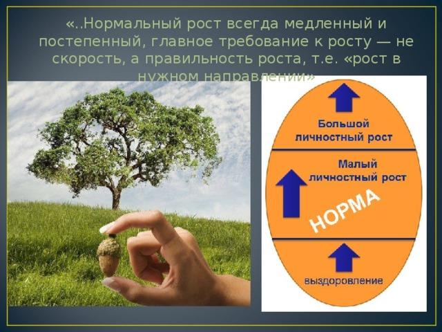 «..Нормальный рост всегда медленный и постепенный, главное требование к росту — не скорость, а правильность роста, т.е. «рост в нужном направлении»