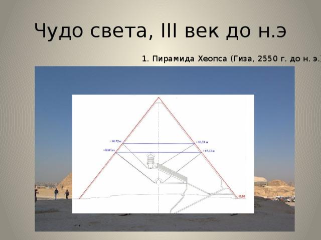 Чудо света, III век до н.э 1. Пирамида Хеопса (Гиза, 2550 г. до н. э.), Пирами́да Хео́пса (Хуфу) — крупнейшая из египетских пирамид, единственное из «Семи чудес света», сохранившееся до наших дней. Предполагается, что строительство, продолжавшееся двадцать лет, закончилось около 2560 года до н. э. ] Архитектором Великой пирамиды считается Хемиун, визирь и племянник Хеопса. Пирамида называется «Ахет-Хуфу» — «Горизонт Хуфу» (или более точно