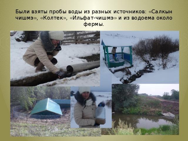 Были взяты пробы воды из разных источников: «Салкын чишмэ», «Колтек», «Ильфат-чишмэ» и из водоема около фермы.