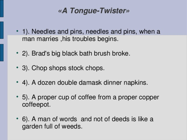 «A Tongue-Twister»