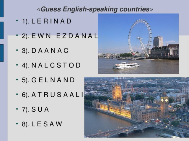 «Guess English-speaking countries»