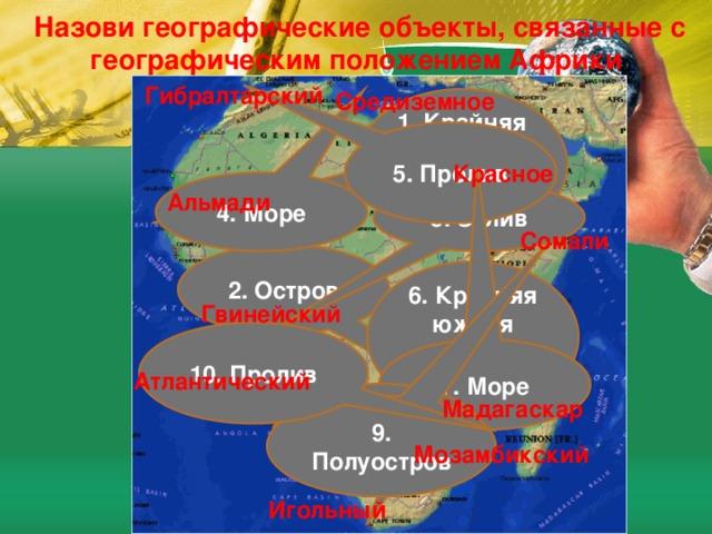 Назови географические объекты, связанные с географическим положением Африки Гибралтарский Средиземное 1. Крайняя западная точка материка 5. Пролив Красное 4. Море Альмади 3. Залив Сомали 2. Остров 6. Крайняя южная точка материка Гвинейский 10. Пролив 7. Море Атлантический 8. Океан Мадагаскар 9. Полуостров Мозамбикский Игольный