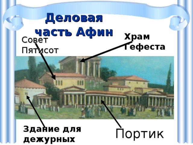 Деловая часть Афин Храм Гефеста Совет Пятисот Здание для дежурных членов Совета Портик