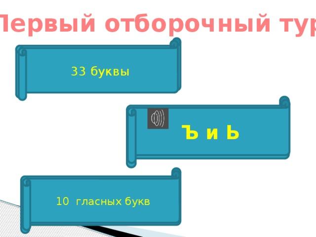 Первый отборочный тур  Сколько букв в русском алфавите? 33 буквы Буквы не обозначающие звуков Ъ и Ь Сколько гласных букв в русском алфавите? 10 гласных букв