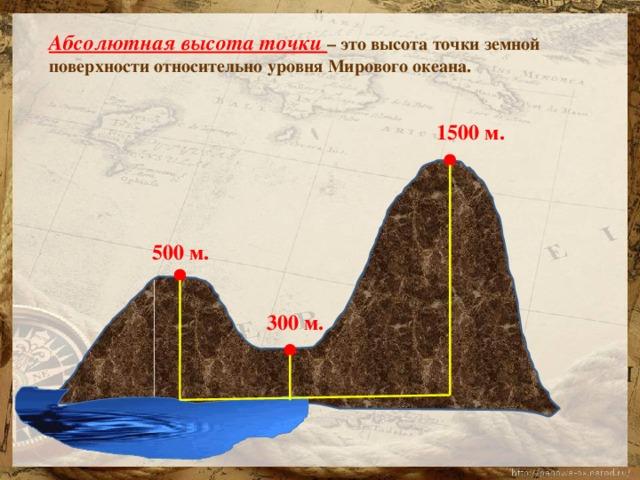Абсолютная высота точки – это высота точки земной поверхности относительно уровня Мирового океана. 1500 м. 500 м. 300 м.