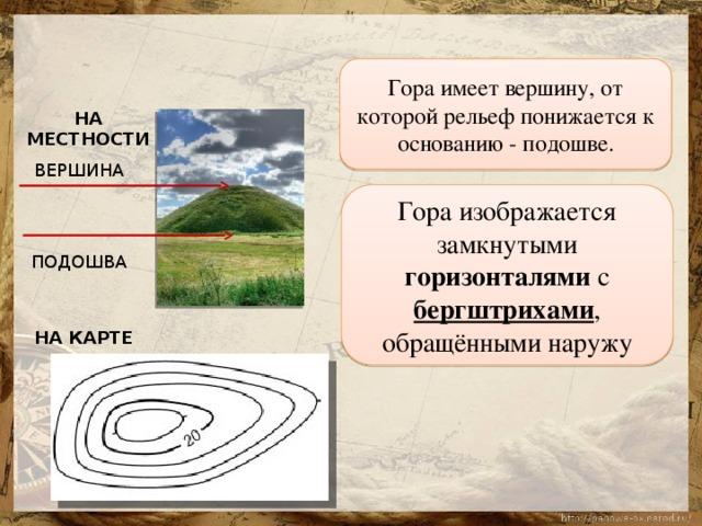 Гора имеет вершину, от которой рельеф понижается к основанию - подошве. НА МЕСТНОСТИ ВЕРШИНА Гора изображается замкнутыми горизонталями с бергштрихами , обращёнными наружу ПОДОШВА НА КАРТЕ