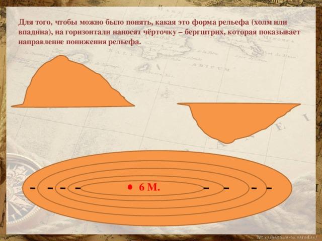 Для того, чтобы можно было понять, какая это форма рельефа (холм или впадина), на горизонтали наносят чёрточку – бергштрих, которая показывает направление понижения рельефа. 6 М.