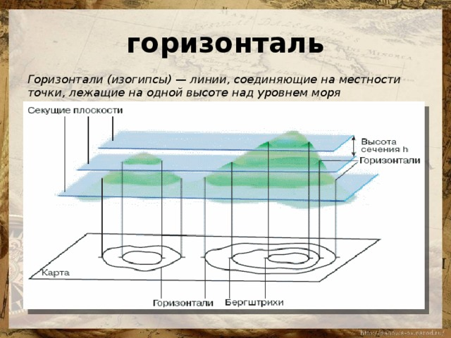 горизонталь Горизонтали (изогипсы) — линии, соединяющие на местности точки, лежащие на одной высоте над уровнем моря