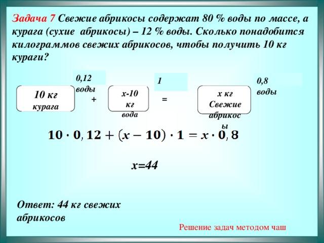 Задача 7 Свежие абрикосы содержат 80 % воды по массе, а курага (сухие абрикосы) – 12 % воды. Сколько понадобится килограммов свежих абрикосов, чтобы получить 10 кг кураги?              0,12 воды 0,8 1 воды х кг  10 кг х-10 кг   курага вода Свежие абрикосы + =  х=44 Ответ: 44 кг свежих абрикосов  Решение задач методом чаш
