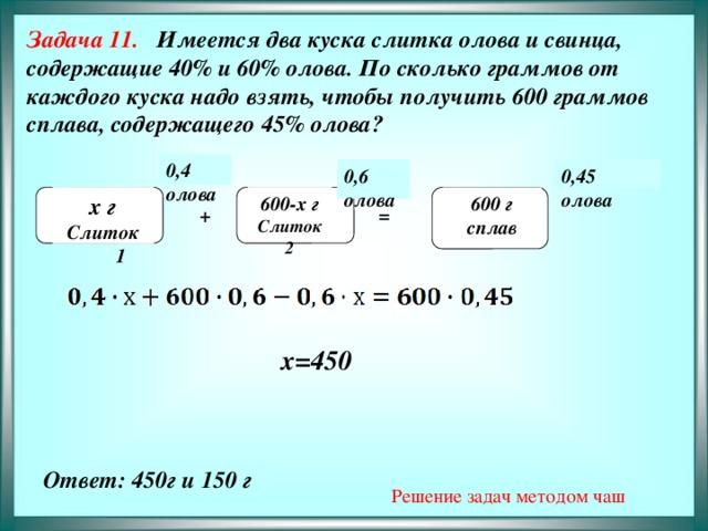 Задача 11. Имеется два куска слитка олова и свинца, содержащие 40% и 60% олова. По сколько граммов от каждого куска надо взять, чтобы получить 600 граммов сплава, содержащего 45% олова?              0,4 олова 0,45 0,6 олова олова  х г 600-х г  600 г  Слиток 2 Слиток 1 сплав + =  х=450  Решение задач методом чаш Ответ: 450г и 150 г