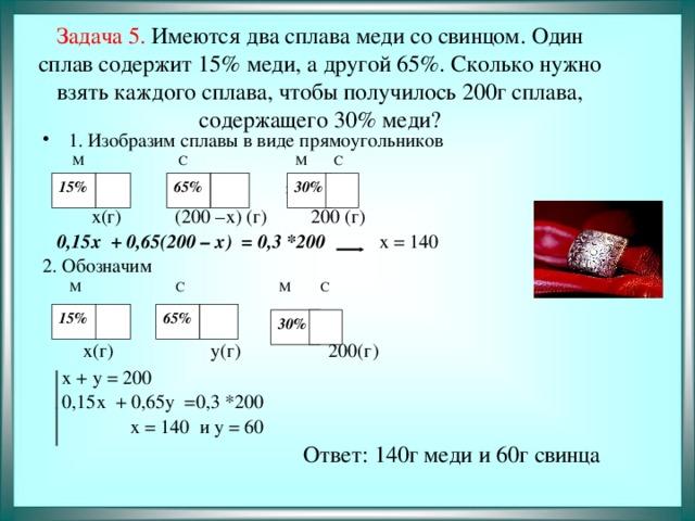 Задача 5. Имеются два сплава меди со свинцом. Один сплав содержит 15% меди, а другой 65%. Сколько нужно взять каждого сплава, чтобы получилось 200г сплава, содержащего 30% меди? 1. Изобразим сплавы в виде прямоугольников  М С М С  + =   х(г) (200 –х) (г) 200 (г)  0,15х + 0,65(200 – х) = 0,3 *200 х = 140 2. Обозначим  М С М С  + =  х(г) у(г) 200(г)  х + у = 200  0,15х + 0,65у =0,3 *200  х = 140 и у = 60  Ответ: 140г меди и 60г свинца 30%  15%  65%  15%  65%  30%