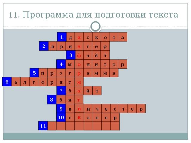 11. Программа для подготовки текста  1 1 и с к е т а д 2 р 2 е т н р п и 3 й ф л а 3 4 о 4 н р м т и о 5 5 а р а м м г р о п 6 т 6 р м а г л о и 7 а б й т 7 8 8 т б и и 9 н е с т е ч р в 9 к 10 10 с е р н а 11 11