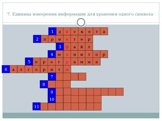 7. Единица измерения информации для хранения одного символа  1 1 и с к е т а д 2 р 2 е т н р п и 3 й ф л а 3 4 о 4 н р м т и о 5 5 а р а м м г р о п 6 т 6 р м а г л о и 7 7 8 8 9 9 10 10 11 11