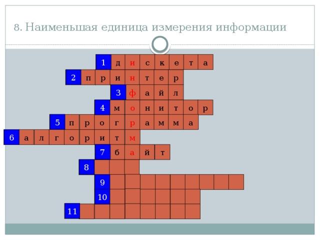 8. Наименьшая единица измерения информации 1 1 и с к е т а д 2 р 2 е т н р п и 3 й ф л а 3 4 о 4 н р м т и о 5 5 а р а м м г р о п 6 т 6 р м а г л о и 7 а б й т 7 8 8 9 9 10 10 11 11