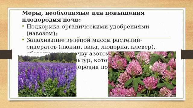 Меры, необходимые для повышения плодородия почв: