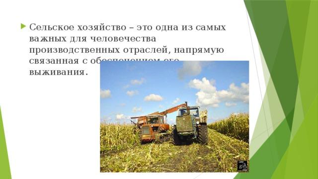 Сельское хозяйство – это одна из самых важных для человечества производственных отраслей, напрямую связанная с обеспечением его выживания.