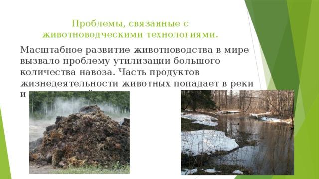 Проблемы, связанные с животноводческими технологиями. Масштабное развитие животноводства в мире вызвало проблему утилизации большого количества навоза. Часть продуктов жизнедеятельности животных попадает в реки и другие водоёмы.