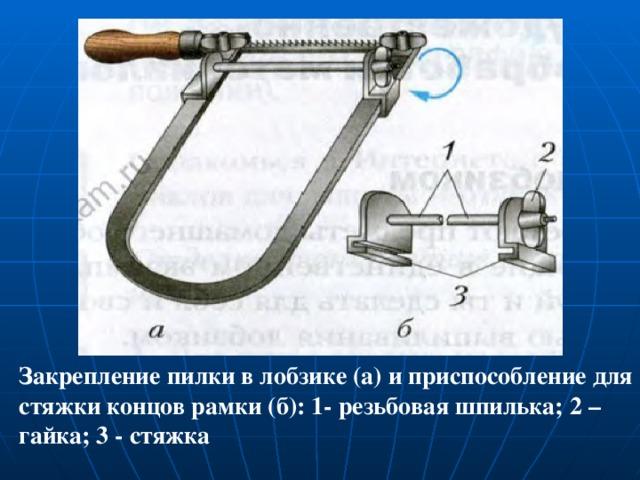 Закрепление пилки в лобзике (а) и приспособление для стяжки концов рамки (б): 1- резьбовая шпилька; 2 – гайка; 3 - стяжка