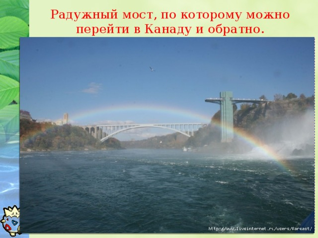 Радужный мост, по которому можно перейти в Канаду и обратно.