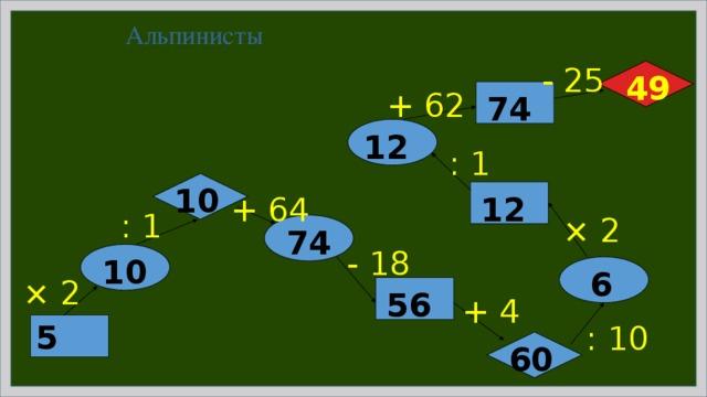 Альпинисты - 25 49 + 62 74 12 : 1 10 12 + 64 : 1 × 2 74 - 18 10 6 × 2 56 + 4 : 10 5 60