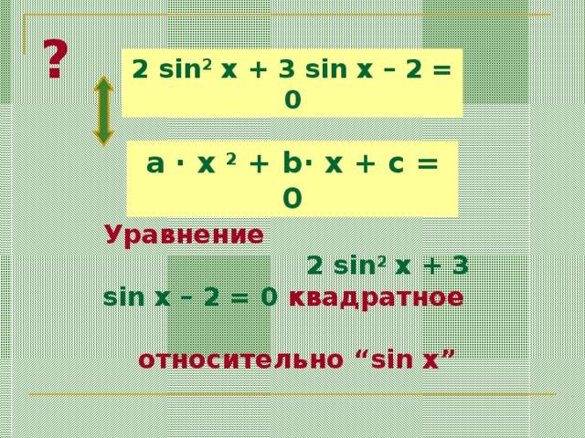 """? 2 sin 2 x + 3 sin x – 2 = 0 a ·  x 2 + b· x + c = 0 Уравнение 2 sin 2 x + 3 sin x – 2 = 0  квадратное относительно """"sin x"""""""