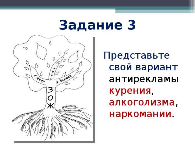 Задание 3 Представьте свой вариант антирекламы курения , алкоголизма , наркомании .
