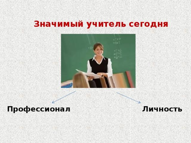 Значимый учитель сегодня Профессионал Личность