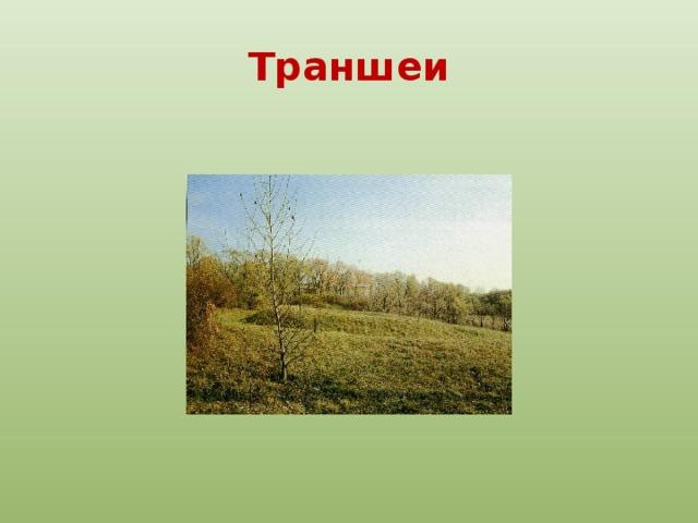 Траншеи По аллеям можно пройти в дальний уголок парка, где на вершине холма сохранилось место детских игр поэта. Два земляных укрепления, поросшие травой, —